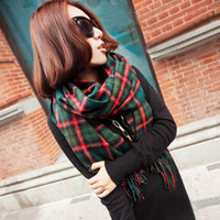 Cheap Scarf autumn and winter lovers women's yarn scarf muffler cape dual-use ultra long plaid cashmere