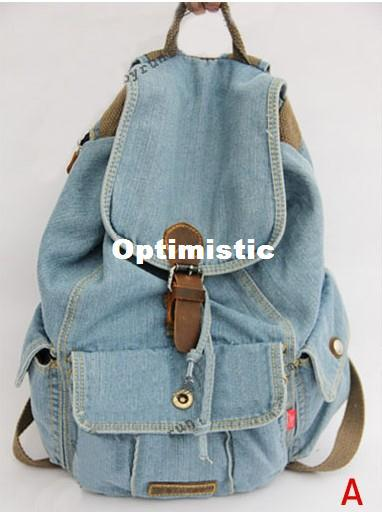 Good Quality New Women Girls Retro Jeans Backpack School Travel Sling Drawstring Denim Bag ...