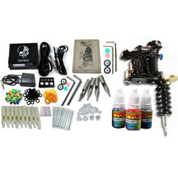 Wholesale New Arrival Hot Pro Handmade Tattoo Machine amp LCD Power Supply Needle Combo Grips Ink Set Kit amp