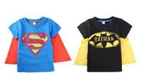 Wholesale christmas baby cloth gift Halloween boys short sleeve t shirt Children superman batman tops Kids Summer fashion garment lcagmy T