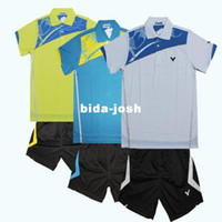 Wholesale Original edition New Olympic race suit VICTOR Mens Badminton Tennis Polo Shirts Shorts Blue Yellow White