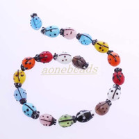 Glass   190pcs Colorful Murano Lampwork Glass Ladybug Loose Bead Jewelry Finding