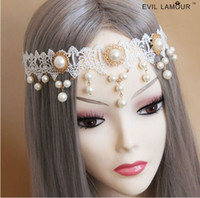 Wholesale New Elegant Ladies Pearl Lace Forehead Hair Band HeadBand Bridal Bridesmaid Jewelry With Tracking Number