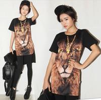 Men Polo Basic Tee fashion2013 Korea purchasing the same paragraph stylenanda Lionhead printing short in front long -sleeved T-shirt 8022 t-shirt