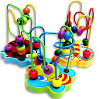 Wholesale Newest colorful educational wooden toy animal around beads just bee shape available