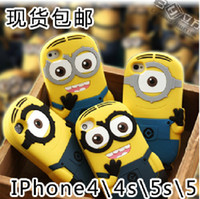 Wholesale new D Cartoon Cute Despicable Me Smile Big Eye Lovely more Minions M2 Soft Silicone Case Cover For iPhone S S iphone5