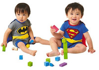 Unisex baby clothes retail free shipping - Retail Superman rompers amp batman rompers Boy T Shirt Baby romper Children clothing