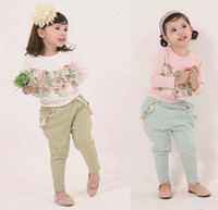 Wholesale Baby Kids Clothes Long Sleeve Chiffon Floral T Shirt Pants Girls Causal Set year Fall Children Suit set QZ73