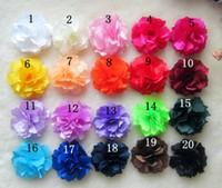 Barrettes silk flower hair clip - 3 common camellia rose flower hair clips Satin silk chiffon flowers hair clip Brooch