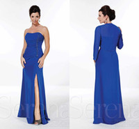 Wholesale 2014 Spring Summer Style Sweetheart Long Chiffon Mother Of The Dresses With Beads Blue Jacket Floor Length Evening Dresses Formal Occasion