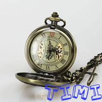 Wholesale 2013 freeship Retro Bronze Wood Mechanical Skeleton Pocket Watch for pack sell