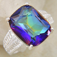 Gemstone ring antique topaz rings - Xmas Western Jewelry Charms Natural Mystic Topaz Rings Antique Silver CR0126