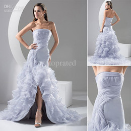 Wholesale Buy One Dress Get One Crown Free Actual Image Bridal Gown Wedding Dresses With A Line Strapless Ruffles Pleat Cris Cross Hi Lo