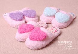 Fashion Women Winter Slippers Love Heart Fluff Lovely Warm Cartoon plush Slipper Household Shoes flattie 3 colors