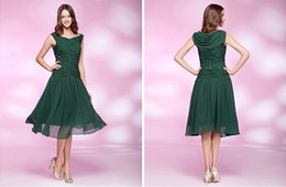 Wholesale Scoop Knee Length Plus Size Dress Customized Dark Green Simple Formal Sheath Sequins Beading Chiffon Homecoming and Prom Women Dresses ZM887