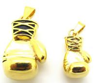al por mayor guantes punk-Los hombres de moda de oro 316L de acero inoxidable guante de boxeo Punk pendiente Jewerly 2 tamaños en chapado en oro de 18 quilates