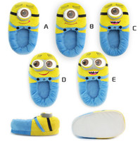 Wholesale Despicable Me Plush Stuffed Slippers Soft Toy D Eyes Jorge Minions Cosy Feet Winter Cartoon Animal Household Flat Shoes toys