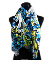 Wholesale 1pcs White Women s Fashion Satin Blue Magpie Plum in Flower Oil Painting Long Wrap Shawl Beach Silk Scarf X50cm