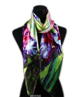Wholesale 1pcs Green Women s Fashion Satin Red Purple Peony Oil Painting Long Wrap Shawl Beach Silk Scarf X50cm