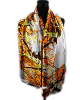 Wholesale 1pcs Orange Women s Fashion Satin Magpie and Plum Oil Painting Long Wrap Shawl Beach Silk Scarf X50cm