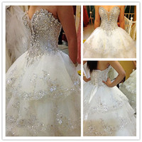 Wholesale Ivory Rhinestone Beaded Appliques Sweetheart A Line Chapel Train Wedding Dresses Bridal Gowns H