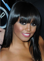 Wholesale High Quality Remy Indian human hair Celebrity front lace wig with bangs for black women