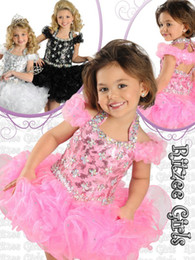 Wholesale Cupcake Pageant Dresses Gold - Best sell 2014 Cupcake little Kids Outstanding Beaded Organza Toddler Pageant Dress Flower Girl Dresses Ritz9814