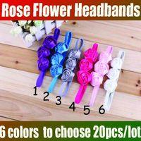 Headbands Cotton CROCHET HEADBANDS  Girl Flower Headbands Baby hairbands 6colors Children Hair Accessories infant Hair Bow Headbands Rose flower 30pcs