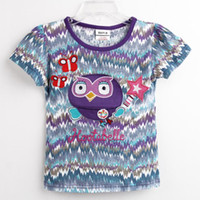 Wholesale K4375 Nova kids summer wear m y baby girls t shirts cartoon HOOTABELLE embroidery cotton short sleeve printing tee shirts girls tops