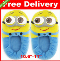 Wholesale 2013Movie Despicable Me Plush Stuffed Slippers Soft Toy D Eyes Jorge Minions Cosy Feet Winter Cartoon Animal Household Flat Shoes toys gift