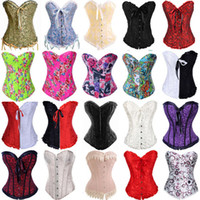 Wholesale 2013 Hot Selling Overbust Corsets Boned Bustiers Floral Print Women Sexy Lingerie Two Pieces Colors Plus Size S XL