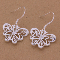 Wholesale Hot sale Charming New Design Butterfly Silver Plated Jewelry Earrings AE507