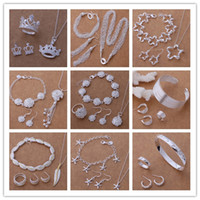 Wholesale Mixed Order Top Quality Fashion Silver plated Jewelry Sets Christmas gifts for women set