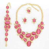 Wholesale 2013 Fashion Nutural Opal Jewelry Gold Plating Chunky Statement Necklace Pink Opal Bracelet A322