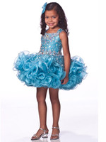 Portrait Beads Organza Custom made 2014 Lovely little Kids Outstanding Beaded Organza Toddler Short Pageant Dress Flower Girl Dresses Ritz90876