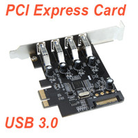 Wholesale 4 Port SuperSpeed USB PCI Express Controller Card Adapter pin SATA Power Connector Low Profile C1739 Freeshipping