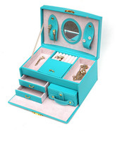 receive jewelry jewelry mirror - Fashion jewelry leather boxes Travel Jewelry Display Box with Mirror necklace earrings rings bracelets hair jewelry Organizer Storage
