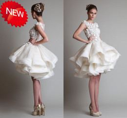 Wholesale 2014 Glamorous Sexy Crew A Line Button Mini Length Lace Applique Ruffles Tiers Organza Party Dresses