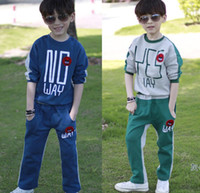 track suit - EMS Kid Clothing Leisure Sportwear Boy Letter Pullover Top Casual Pants Outfit Child Clothes Activewear Set Track Suit Blue Green D0302