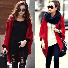 Noir cardigan tricoté à vendre-A141 livraison gratuite 2016women nouvelle corée mode noir rouge tricotée laine fine capes tricotés dames automne cardigans lâches chandails drop ship