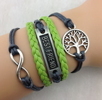 best life jewelry - Best friend Bracelets infinity Silver Tree of Life Bracelet One directions with green Braided leather Bracelets Jewelry hy948