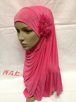 Wholesale 2013 Muslim scarf fashion scarf new with big silk flower Scarf hijab headscarf caps