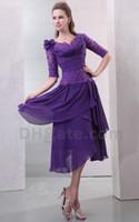 purple mother of bride dress - 2013 Sexy Bateau Applique Pleat Chiffon Lace Purple Tea Length Mother Of The Bride Dresses DH00296