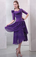mother of the bride - Sexy Bateau Applique Pleat Chiffon Lace Purple Tea Length Elastic Satin Mother Of The Bride Dresses DH00296