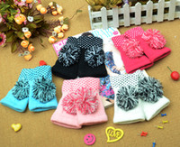 Wholesale Winter Fashion New Color Ball Knitting Half Gloves Double Layer Leakag Lady Pure Manual Has Upset a Feather
