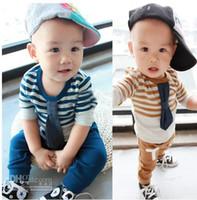 Boy best sleeve stripe shirt - 0 M Baby Kids Clothing Set Pure Cotton Best Quality Bow Tie Stripe Long Sleeve T Shirt Cotton Pants Boys Suit set cvx