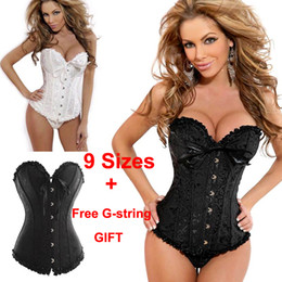 Wholesale Hot New Sexy Girls Women s Corset Bustier Tops Bra Lace Up Boned Waist Cincher Slim Floral Bustier Lingerie girdles Women Clothing S XL