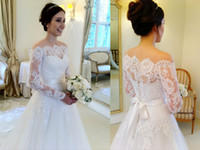Wholesale 2014 Long Sleeves A line Wedding Dresses Bateau Covered Buttons Back Sweep Train Tulle Applique Bowknot Sash Graceful Bridal Gowns BO1900