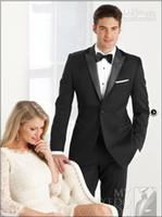 Wholesale Custom Made New Groom Tuxedos Two Buttons Black Peak Lapel Best man Groomsman Men Wedding Suits Bridegroom Jacket Pants Tie Girdle J150
