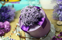 Wholesale Romantic Lavender Paper Candy Boxes Purple Yellow Red Pink Wedding Favors Party Gift Boxes Round shape
